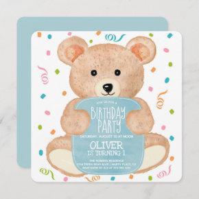 Watercolor Teddy Bear Confetti Boy Birthday Invitation