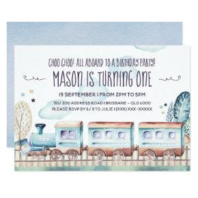 Watercolor Train Birthday Party Invitation