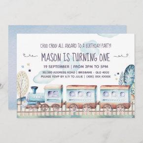 Watercolor Train Birthday Party Invitation