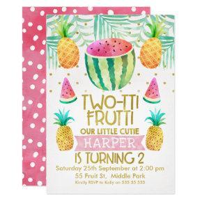 Watercolor Two-Tii Frutti 2nd Birthday Invitation