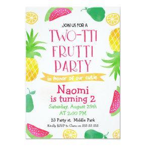 Watercolor Two-tti Frutti 2nd Birthday Invitation