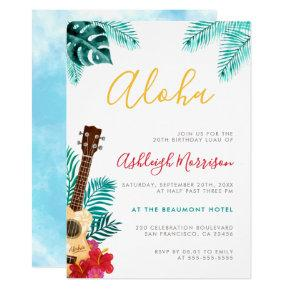 Watercolor Ukulele | Tropical Birthday Luau Party Invitation