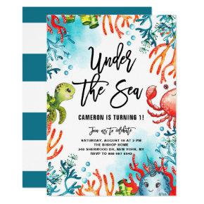 Watercolor Under the Sea Friends Kids Birthday Invitation
