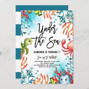 Watercolor Under the Sea Friends Kids Birthday Invitation