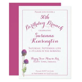 Watercolor Wildflower Pink Floral Birthday Brunch Invitation