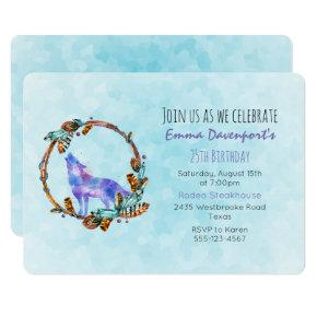 Watercolor Wolf with a Boho Style Wreath Birthday Invitations
