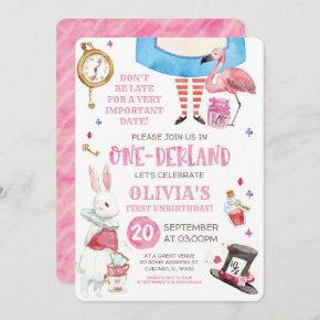 Watercolour Alice in Onederland First Birthday Invitation