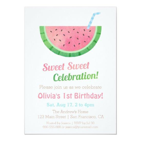 watercolour watermelon birthday party invitations candied clouds