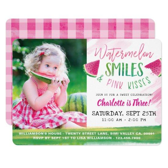watermelon birthday girl picnic party invitations candied clouds
