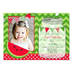 Watermelon Chevron Pendants Party Birthday Invitation