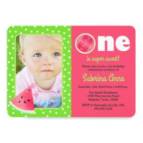 Watermelon First Birthday One is Sweet Photo Invitation
