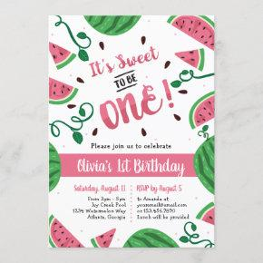 Watermelon First Birthday Party Invitation