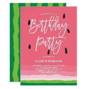 Watermelon Gradient Modern  Birthday Party Invitation