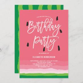 Watermelon Gradient Modern Birthday Party Invitation