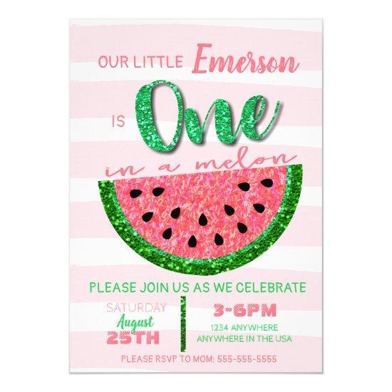 Watermelon, One in a Melon Invitation Glitter