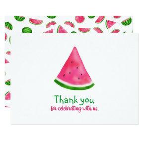 Watermelon Pattern Summer Cool Birthday Thank You Card
