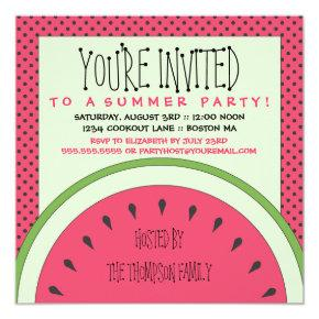 Watermelon Summer Party Invitations