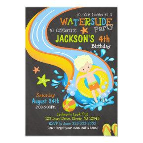 Waterslide Birthday Invitation / Pool Party / Boy
