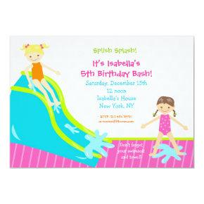 Waterslide Water Party Birthday Invitations