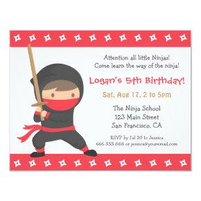 Way of the Ninja Kids Birthday Party Invitations