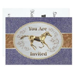 Western Belt And Buckle On Denim Your Are Invited Invitations