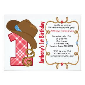 Western Big One Boy Birthday Invitation