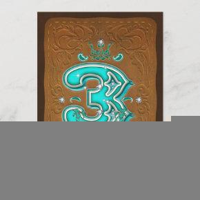 Western Rustic Brown & Turquoise THREE 3 3rd Party Invitation