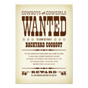 Western Wanted Poster Party