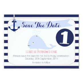 Whale Nautical 1st Birthday Save The Date Card