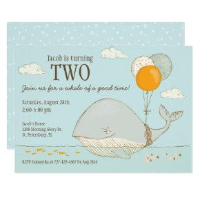 Whale of a Good Time 2nd Birthday Nautical Theme Invitation