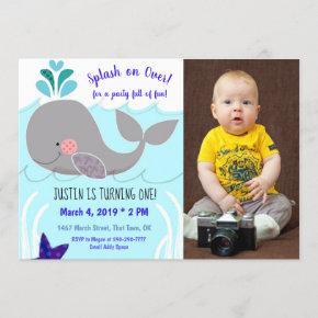 Whale Splash on over First Birthday Invitation