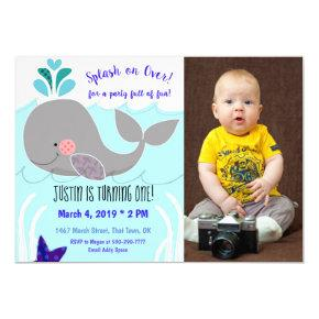 Whale Splash on over First Birthday Invitation