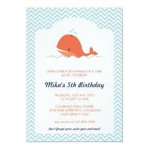 Whale Swim Summer Birthday Party Invitation