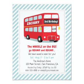 Wheels On The Bus Kids Birthday Party Invitations