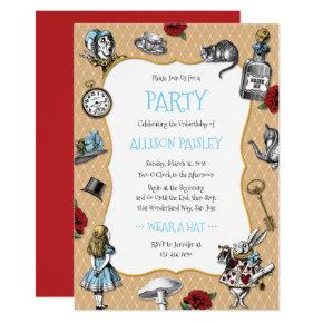 Whimsical Alice in Wonderland Party Card