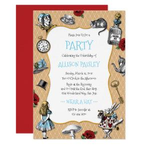 Whimsical Alice in Wonderland Party Invitation