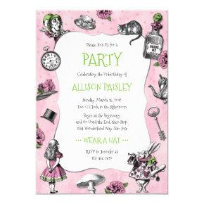 Whimsical Alice in Wonderland Pink and Green Invitation