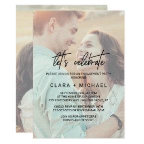 Whimsical Calligraphy Faded Photo Let's Celebrate Card