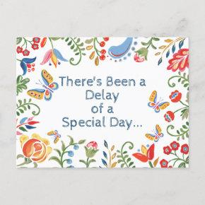 Whimsical Change Delay the Date Customized Floral Announcement Post