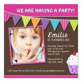 Whimsical Cupcake Birthday Party Invitation