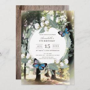 Whimsical Enchanted Forest Blue Butterfly Birthday Invitation