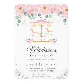 Whimsical Pink Floral Carousel 1st Birthday Party Invitation