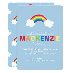 Whimsical Rainbow Birthday Party Invitations