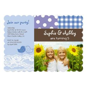 Whimsical Twin Birds Lace Birthday Party Photo Invitations