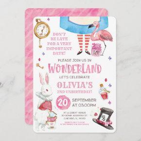 Whimsical Watercolor Alice in Wonderland Birthday Invitation