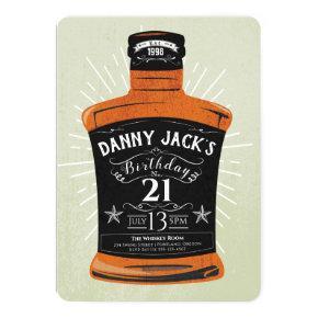 Whiskey Bottle 21st Birthday Party Invite