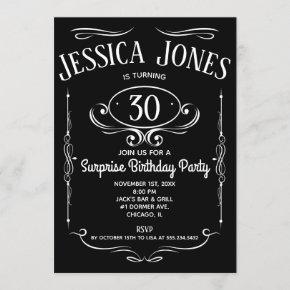 Whiskey Label 30th Birthday Invitation