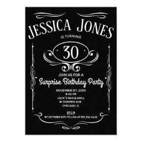 Whiskey Label 30th Birthday Invitation
