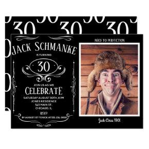 Whiskey Label OTH Photo Birthday Party Invitation