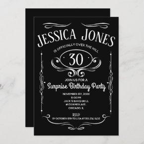 Whiskey Label Over The Hill Invitation
